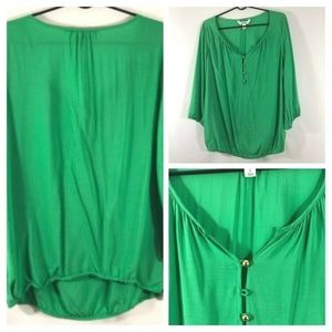 Old Navy Large Green Front Button Elastic Hem